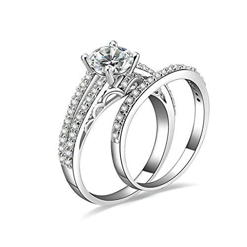 Gentlemans Titanium Diamond Set - Daesar Sterling Silver Ring for Women Wedding Band Diamond 4-Prong Setting CZ Ring Set Ring Size 7.5