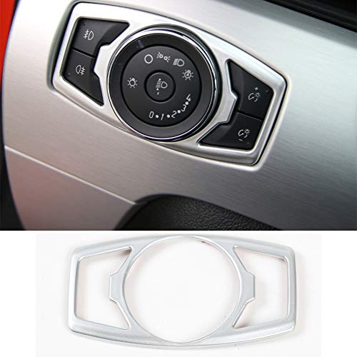 Nkcar Silver ABS Headlight Switch Cover Trim Decoration Trim Cover for Ford Mustang 2015-2016