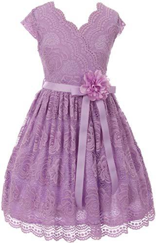 Flower Girl Dress Curly V-Neck Rose Embroidery Allover for Big Girl Lilac 16 JKS.2066
