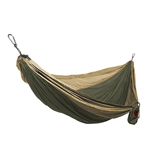 Grand Trunk Double Parachute Nylon Hammock with Carabiners (Olive Green/Khaki, One Size) ()