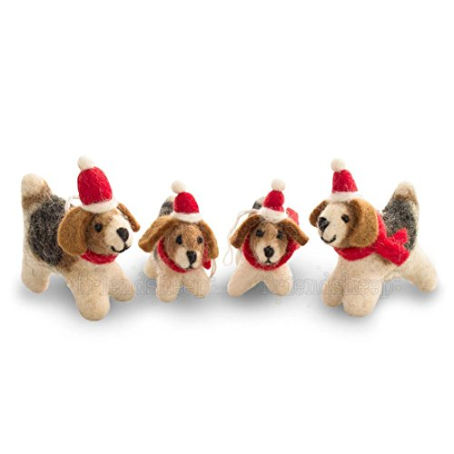 Friendsheep Santa's Helper Dogs - GIFT WRAPPED Christmas Hanging Ornaments By Eco-friendly Handmade Fair Trade Sustainable- 100% Pure New Zealand Wool - Limited Edition (4)