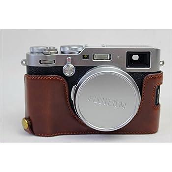 X100F Case, BolinUS Handmade PU Leather Half Camera Case Bag Cover Bottom Opening Version for Fujifilm Fuji X100F With Hand Strap -Coffee