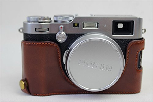 X100F Case, BolinUS Handmade PU Leather Half Camera Case Bag Cover Bottom Opening Version for Fujifilm Fuji X100F With Hand Strap -Coffee