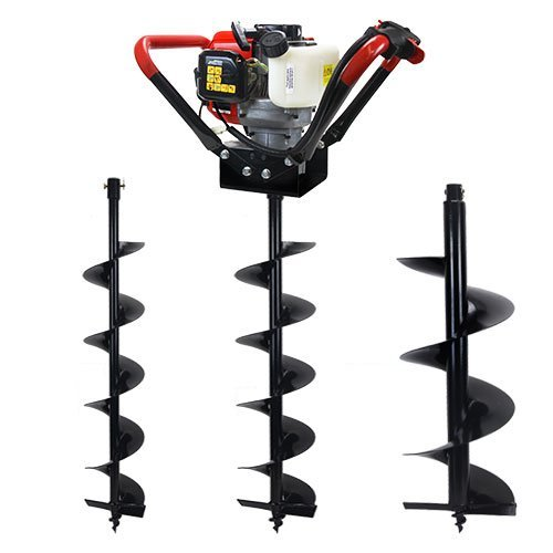 XtremepowerUS V-Type 55CC 2 Stroke Gas Post Hole Digger One Man Auger (Digger + 6'' 8'' 12''Bits)