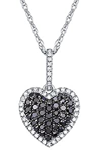 0.38Ct Round Black Diamond & White Diamond Puffed Dome Heart Pendant With Chain, 10k White Gold