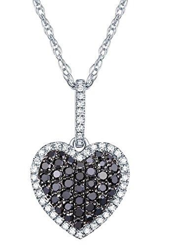0.38Ct Black Diamond & White Diamond Puffed Dome Heart Pendant With Chain, 10k White Gold