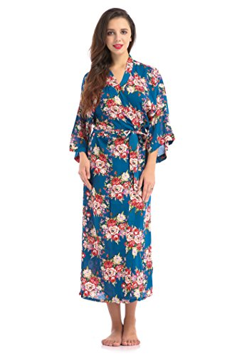 Lilywei Floral Cotton Kimono Long Style Bridesmaids Robes Women Floral Posy Maternity Hospital Gown (Deep Blue,XL) -