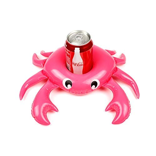 - 1pc Crab Drink Holders Cup Holder Floats Inflatable Floating Coasters for Pool Party Water Fun