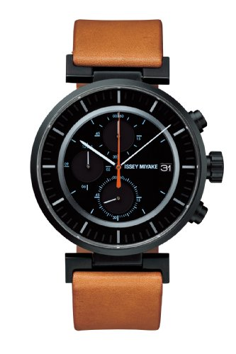 Issey Miyake Watch - 'W' - Leather - Brown/Black
