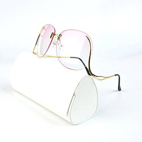 MINCL/Unique Design Rimless Round Sunglasses Plain and Color With Box (gold-pink, - Sunglasses Down Upside