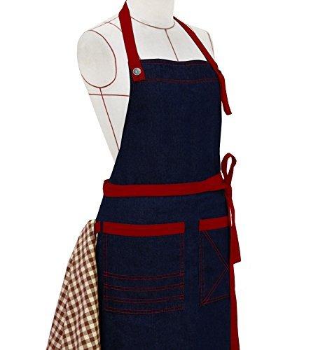 Milano Home–Toalla de denim delantal con cuello ajustable, Tenedor & Patch Bolsillos, perfecto para cocinar, barbacoa,...