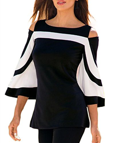 MuCoo Women's Black White Color Block Cutout Cold Shoulder Top Blouse Tshirt XXL (Womens White Black Clothing)