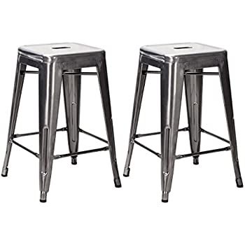 Joveco Inches Sheet Metal Frame Tolix Style Industrial Chic Chair Backless Bar Counter Stools Set of 2 inches Gunmetal