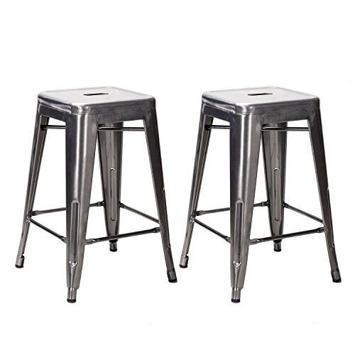 TOP SELLER! Adeco 24-inch Gunmetal Glossy Metal Tolix-style Chair Counter Bar Stool Barstool, Set of Two - Gunmetal Metal