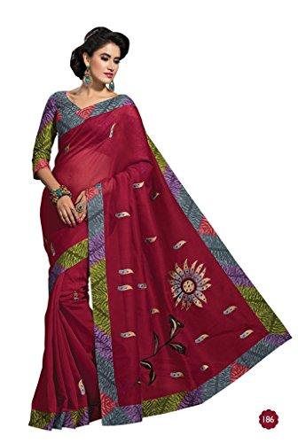 Jaanvi-Fashion-Designer-Maroon-Embroidered-Cotton-Saree