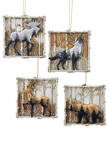(Kurt Adler Winter Wood Animals 4 pc Christmas Ornament Set Standard)