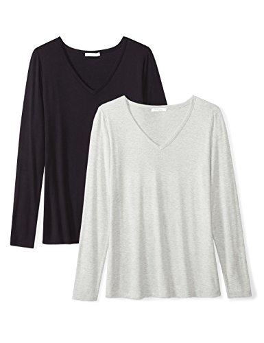 Here Womens Light T-shirt - Amazon Brand - Daily Ritual Women's Jersey Long-Sleeve V-Neck T-Shirt, Black/Light Heather Grey, XX-Large