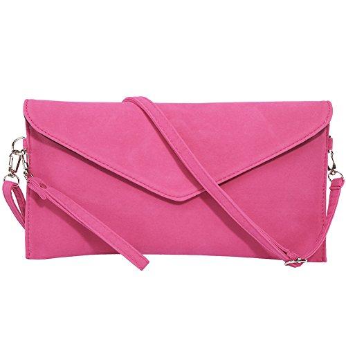 Womens Pink Ladies Hot Suede Soft Handbag Faux Bag WeddingParty Cluth Bridal Envelope KorMei d7w5qd