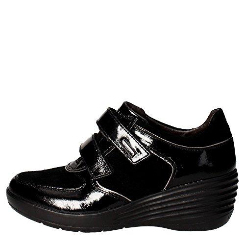Stonefly 105250 Ebony 3 naplack/vel nero sneakers donna in camoscio e vernice con zeppetta e velcro