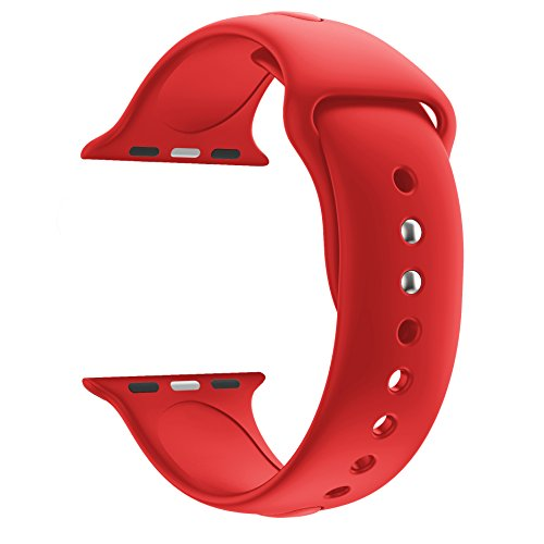 Huanlong 38mm New Soft Silicone Sport Style Replacement Iwatch Strap Band for Apple Wrist Watch Series 1/2/3(Red 38mm S/M)