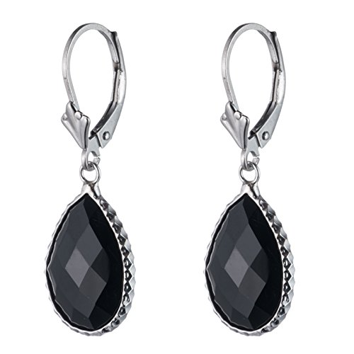 Sterling Silver Genuine Black onyx Stone Earring, Lever Back Closure, Pear shape, Bezel wired (Green Onyx Earrings)