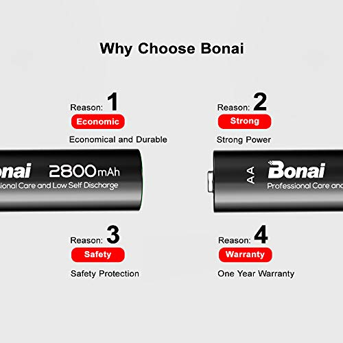 BONAI 16 Bay Smart Battery Charger Round with 16 Pack AA High-Capacity 2800mAh Ni-MH Rechargeable Batteries by BONAI (Image #4)