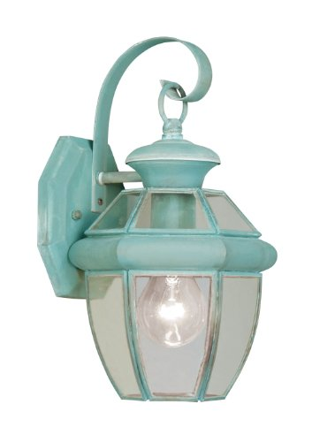 Livex Lighting 2051-06 Outdoor Wall Lantern with Clear Flat Glass Shades, Verdigris