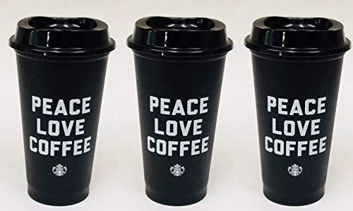 2018 Starbucks Black Reusable Travel Coffee Cup - (Grande 16 Oz)3 pack