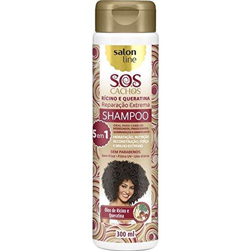 Linha Tratamento (SOS Cachos) Salon Line - Shampoo Ricino e Queratina - Reparacao Extrema 5 em 1 - 300 Ml - (SOS Curls - 5 in 1 Extreme Restoration Castor and Keratin Shampoo 10.14 Fl Oz)