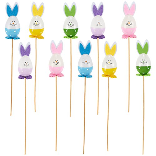 icks - 10-Piece Easter Egg Rabbits Flower Picks Set, Plastic Bunny Floral Picks Wooden Sticks for Vase Lawn Flower Pot Decoration, 5 Assorted Colors, 1.6 x 13.5 x 1.6 Inches ()