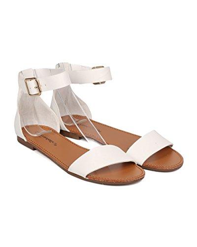 Alrisco Kvinnor Ankelbandet Flat Sandal - Minimalistiska Sandal - Tillfällig Mångsidig Dressat Sommar Sandal - Hb03 Från Breckelles Samling Vitt Konstläder
