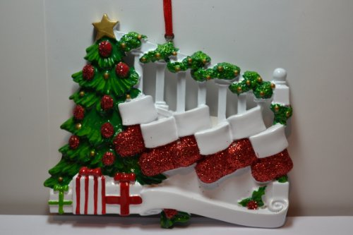 Banister with 6 Stockings Personalized (Banister Stocking Holders)