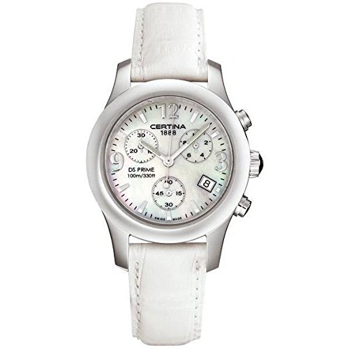 Certina Women's DS Prime 34mm White Leather Band Steel Case Quartz MOP Dial Analog Watch C538.7033.42.96