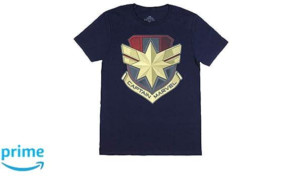 e3f01abad Amazon.com: Captain Marvel Shirt Adult Graphic Logo Shield Design Short  Sleeve T-Shirt for Men Navy: Clothing