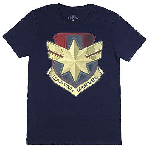 Captain Marvel Shirt Adult Graphic Logo Shield Design Short Sleeve T-Shirt for Men (Small, 34/36) Navy