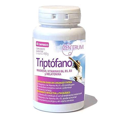 Zentrum Triptófano - Rendimiento Intelectual Psicológico y Superación, Magnesio + Vitaminas B6 + B5 + B3 + Melatonina, 60 comprimidos.