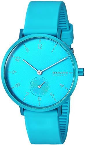 Skagen Women's Aaren Quartz Watch with Silicone Strap, Blue, 16 (Model: SKW2818)