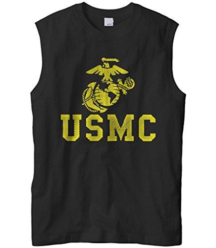 Cybertela Men's United States Marine Corps USMC Sleeveless T-Shirt (Black, Large)