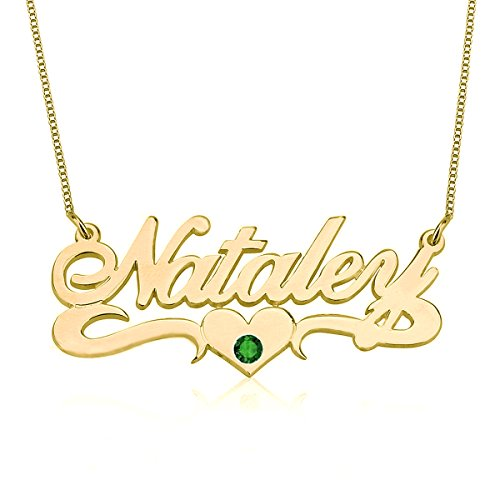 (HACOOL Sterling Silver Birthstone Name Necklace with Center Heart Gift for Her Custom Made with Any Names (Golden))