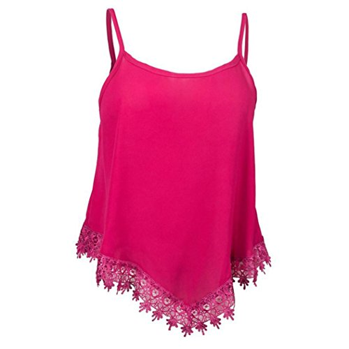 Women Tank Tops Loose Fit,Lelili Sexy Straps Sleeveless Scoop Neck Lace Patchwork Tassel Vest Shirt Blouse (2XL(Asian 2XL=US XL), Hot Pink)