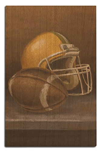 Lantern Press Football and Helmet - Oil Painting (12x18 Wood Wall Sign, Wall Decor Ready to ()