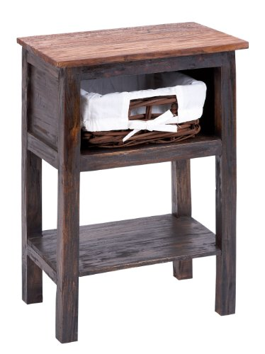 Benzara Wooden Rattan End Table with Rust Design and 2 Shelves