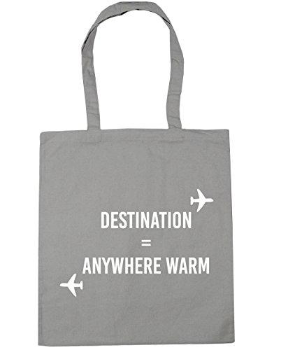 HippoWarehouse destino cualquier lugar cálido Tote Compras Bolsa de playa 42cm x38cm, 10litros gris claro