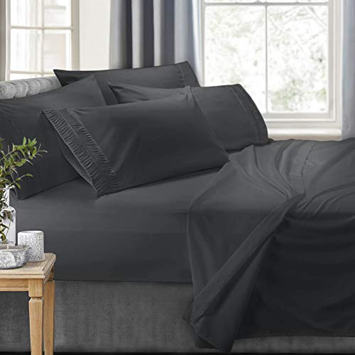 Clara Clark 6-Piece 100% Soft Brushed Microfiber Bedding Set Luxury Pleated Pillowcases, Cool & Breathable, 6 PC Sheets, Full, (Best Clara Clark Bath Pillows)