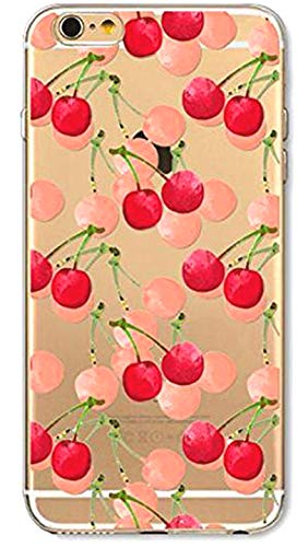 DECO FAIRY Compatible with iPhone 6 / 6s, Fruit Punch Health Diet Juice Milkshake Lover Pink Red Cherry Cherries Series Transparent Translucent Flexible Silicone Cover Case