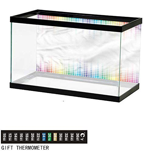 bybyhome Fish Tank Backdrop Colorful,Abstract Mosaic Tiles,Aquarium Background,72