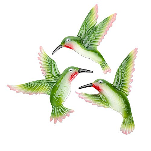 Bits and Pieces - Set of Three Hummingbird Garden Art - Hanging Wall Décor - Decorative Wall Sculpture for Indoor or -