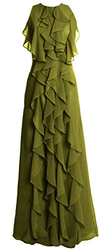 MACloth Women O Neck Long Bridesmaid Dress Chiffon Wedding Party Evening Gown Verde Oliva