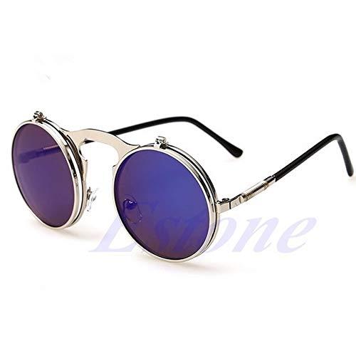 Kasuki NEW Men Women Vintage Round Metal Frame Flip Up Sunglasses Glasses Eyewear Lens - (Lenses Color: SBS)