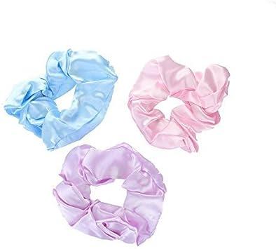 Pack de 3 mujer Satin Pastel Pelo Scrunchies Azul, Color Lila y Rosa Set: Amazon.es: Belleza